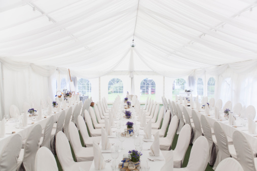 Entertainment Tent「Three white banquet tables with white settings」:スマホ壁紙(9)