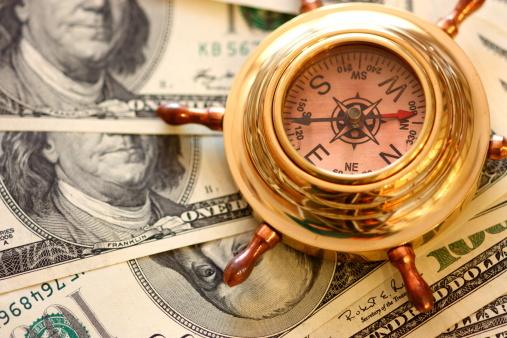 American One Hundred Dollar Bill「Compass and money」:スマホ壁紙(12)