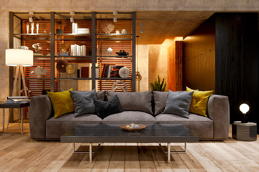 Night view「Luxury Living Room At Night With Sofa, Floor Lamp And Parquet Floor.」:スマホ壁紙(18)
