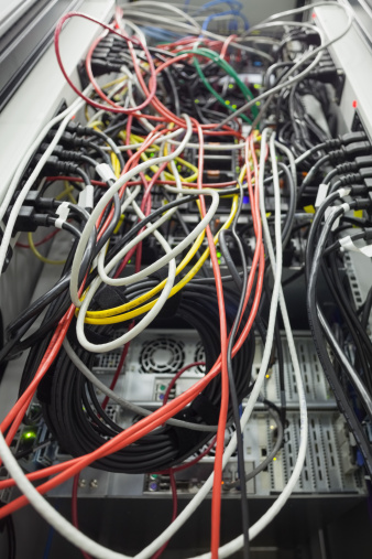 Data Center「Interior of server with wires」:スマホ壁紙(2)