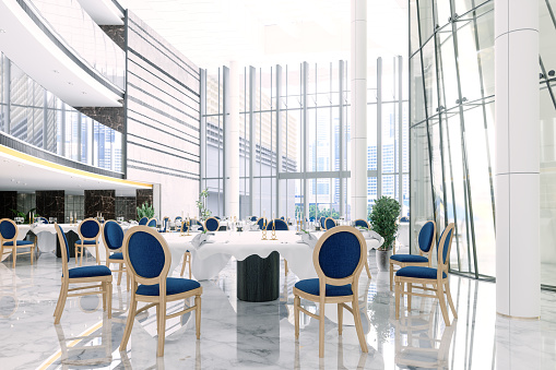 Convention Center「Interior Of A Banquet Hall In A Hotel Or In A Luxury Restaurant With Round Tables And Navy Blue Chairs.」:スマホ壁紙(8)