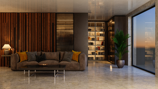 Simplicity「Interior Of Luxurious Living Room With Sofa And Bookshelf. Dusk Scenery From The Window.」:スマホ壁紙(12)