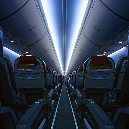 Passenger Cabin「Interior of an empty cabin on airplane」:スマホ壁紙(16)