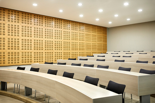 Lecture Hall「Interior of empty illuminated lecture hall」:スマホ壁紙(13)