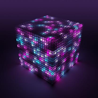 Quantum Computing「3D cube and cloud computing」:スマホ壁紙(0)