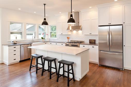Kitchen Island「New kitchen in modern luxury home」:スマホ壁紙(1)