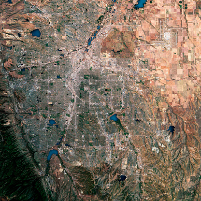 Layered「Denver 3D Render Satellite View Topographic Map」:スマホ壁紙(2)