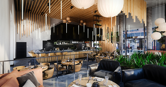 Bar Counter「Modern Café Interior」:スマホ壁紙(6)