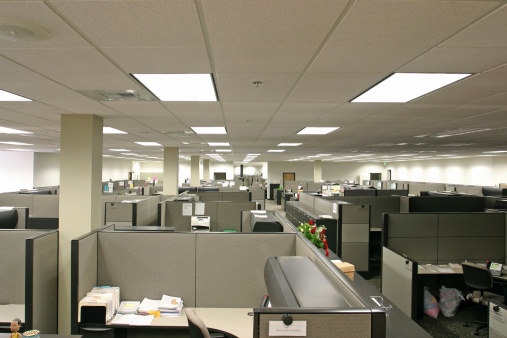 Corporate Business「Desks and partitions in office, elevated view」:スマホ壁紙(19)