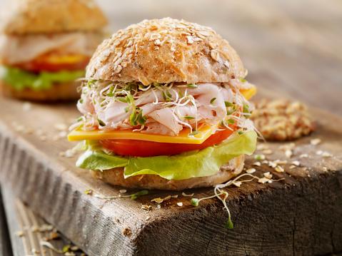 Chicken Meat「Turkey and Cheese Sandwich on a Rustic Cutting Board」:スマホ壁紙(17)