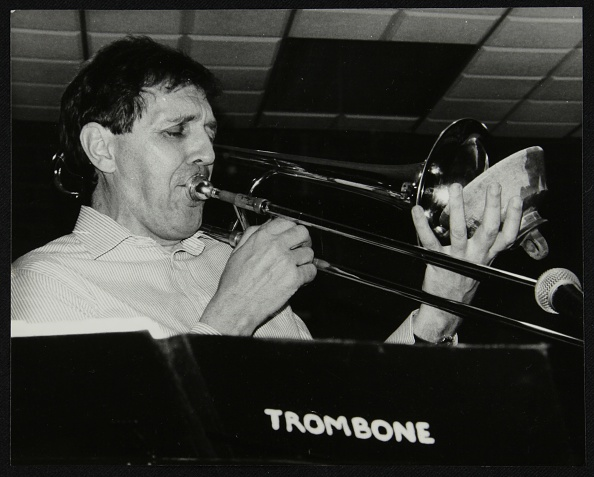 Musical instrument「Trombonist Derek Wadsworth playing at The Fairway, Welwyn Garden City, Hertfordshire, 28 July 1991. Artist: Denis Williams」:写真・画像(8)[壁紙.com]