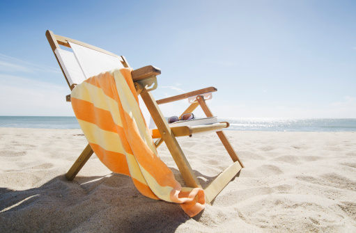Image「USA, Massachusetts, Nantucket Island, Sun chair on sandy beach」:スマホ壁紙(1)