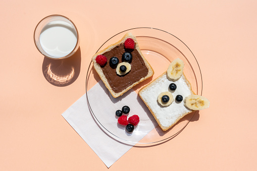 Polar Bear「Studio shot of glass of milk and toasts with bear faces made of fruits」:スマホ壁紙(11)