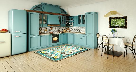 Mediterranean Culture「Vintage Domestic Kitchen Interior」:スマホ壁紙(14)