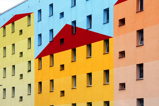Postmodern「A building painted with colors making a shape of houses 」:スマホ壁紙(12)