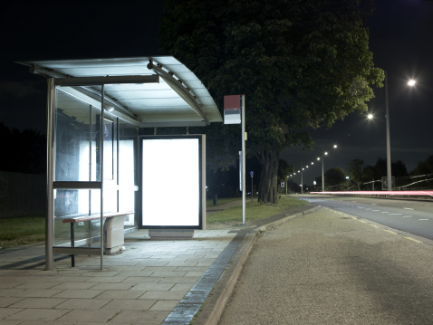 Commercial Sign「Bus Stop at night」:スマホ壁紙(12)