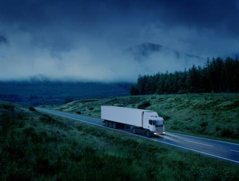 Trucking「White lorry driving along country road at night (Digital Enhancement)」:スマホ壁紙(8)