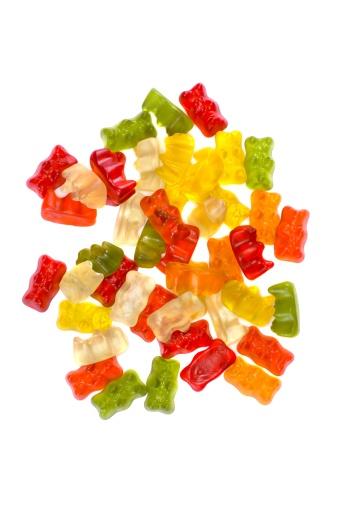 Gummi candy「Gummy bears heap on white background」:スマホ壁紙(5)