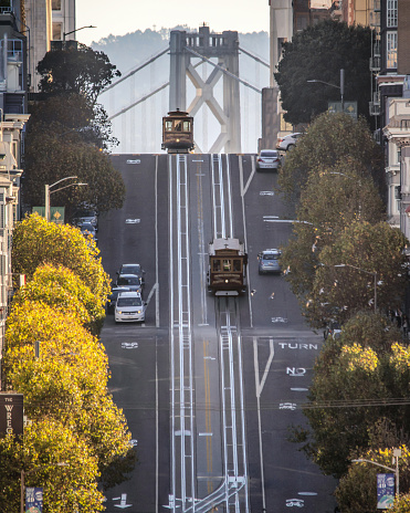 Railroad Track「Vintage cable car in California Street. San Francisco, California. USA」:スマホ壁紙(18)