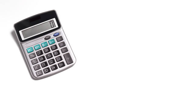 Power Equipment「Calculator on white background with copy space」:スマホ壁紙(6)