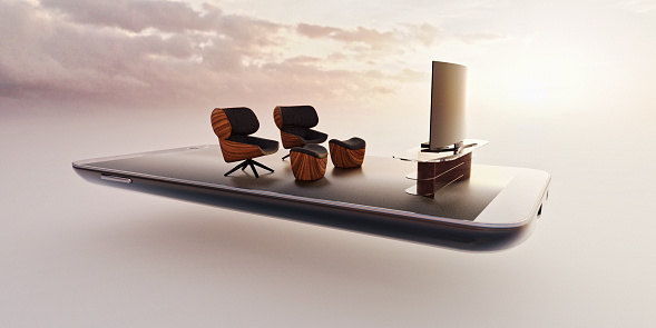 Mobile Phone「Mobile phone miniature worlds: watching movies online concept, comfortable chairs and tv screen」:スマホ壁紙(13)