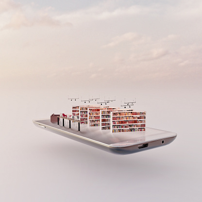 Internet of Things「Mobile phone miniature worlds: library with books on shelves, desks with computers and comfortable reading chairs」:スマホ壁紙(18)