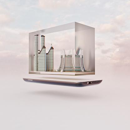 Mobile Phone「Mobile phone miniature worlds: futuristic city inside glass block floating over screen of smart phone」:スマホ壁紙(8)