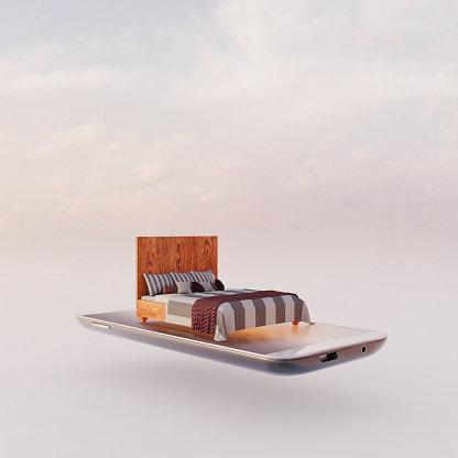Intelligence「Mobile phone miniature worlds: bed on smart phone screen, virtual sleep app」:スマホ壁紙(18)