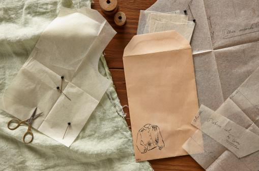 Sewing Pattern「Blank envelope and clothing patterns」:スマホ壁紙(10)