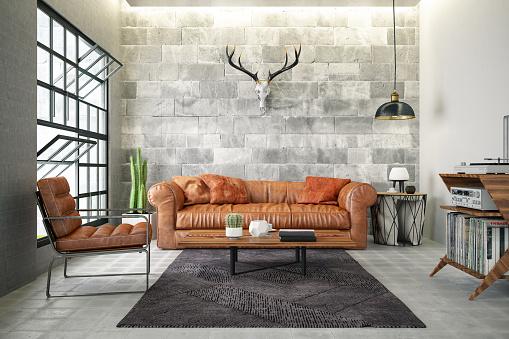 Bone「Loft Interior with Leather Sofa and Skull」:スマホ壁紙(16)