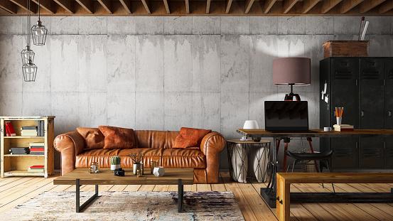 Loft Apartment「Loft Interior with Leather Sofa」:スマホ壁紙(8)