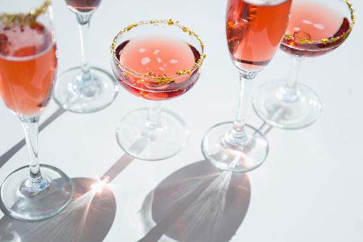 Celebration「Different wine glasses on white」:スマホ壁紙(7)