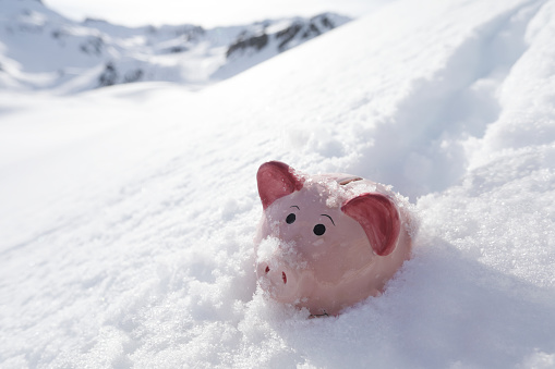 Snowdrift「Piggy bank buried in snow」:スマホ壁紙(15)