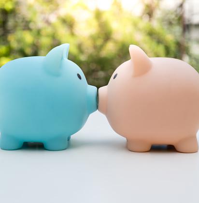 Beginnings「Piggy Bank Couple kissing profile view Close up」:スマホ壁紙(0)