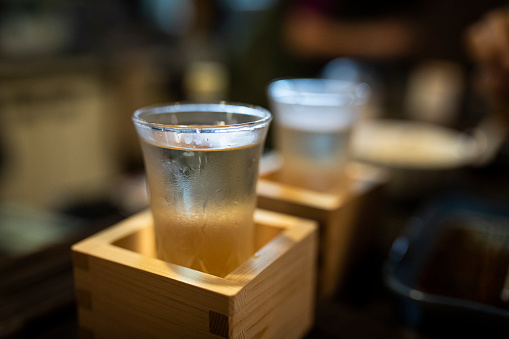 Alcohol - Drink「Japan, Takayama, Sake served in masu in traditional Japanese restaurant」:スマホ壁紙(1)