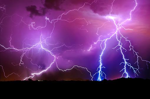 Extreme Weather「Lightning storm, Arlington, Arizona, America, USA」:スマホ壁紙(17)