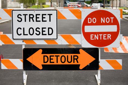 Road Construction「Warning signs street closed detour do not enter」:スマホ壁紙(10)