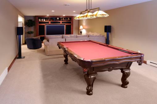 Basement「Modern Game Room; Pool Table, Custom Lighting, HDTV, Surround Sound」:スマホ壁紙(18)