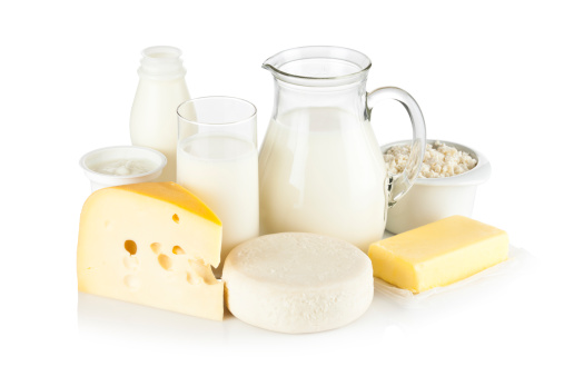 Dairy Product「Assortment of most common dairy products on white backdrop」:スマホ壁紙(5)