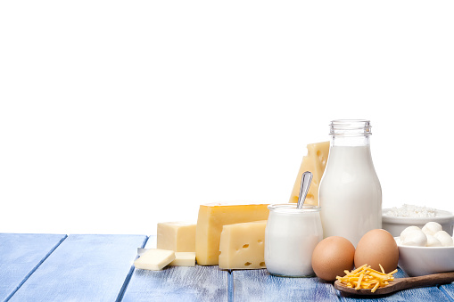 Dairy Product「Assortment of dairy products shot on blue striped table against blue striped table」:スマホ壁紙(14)