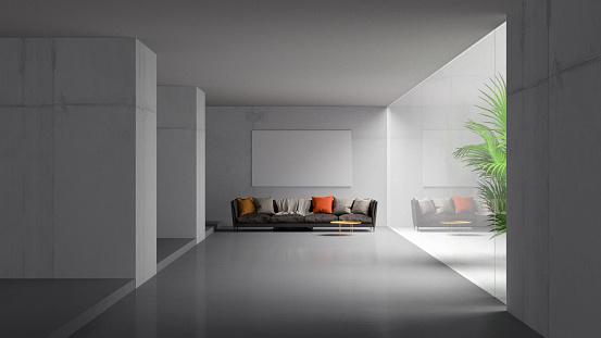 灰色「モダンな客室」:スマホ壁紙(6)