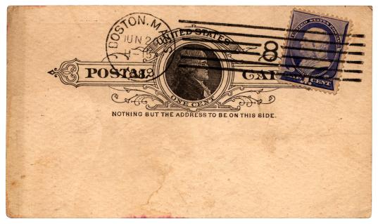 Postage Stamp「Postcard from Boston, Massachusetts, to England, 1889」:スマホ壁紙(18)