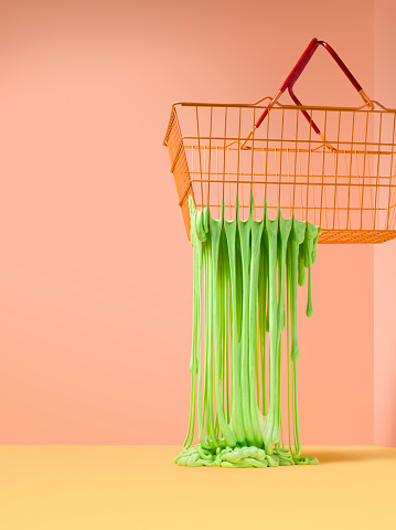 Slimy「Slime fripping through the holes in a wire shoping basket」:スマホ壁紙(15)