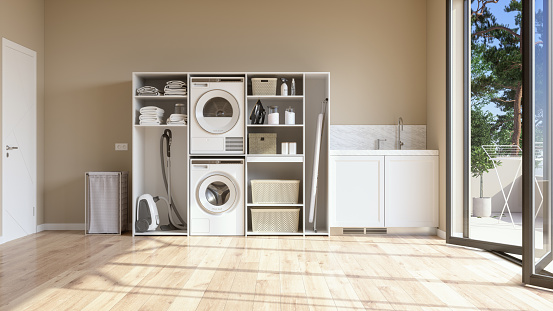 Laundry「Laundry Room With Beige Wall And Parquet Floor With Washing Machine, Dryer, Laundry Basket And Folded Towels In The Cabinet.」:スマホ壁紙(10)