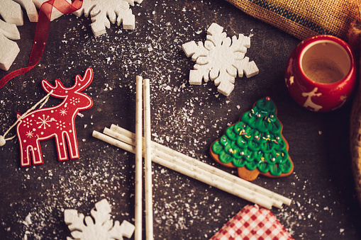 reindeer「Directly above a small Christmas flat lay」:スマホ壁紙(12)