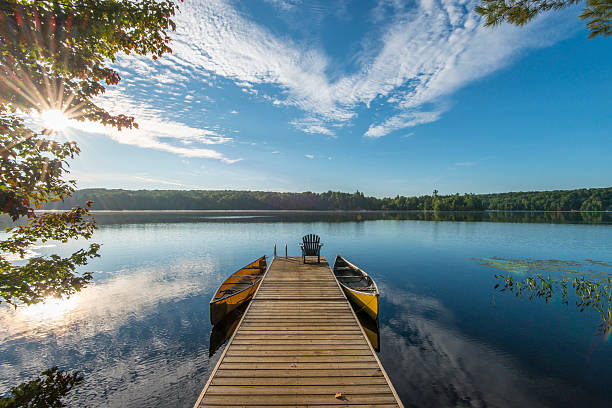 Wooden pier reaches into tranquil lake, sunrise:スマホ壁紙(壁紙.com)
