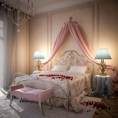 ピンク色「ロマンチックなベッドルーム」:スマホ壁紙(14)
