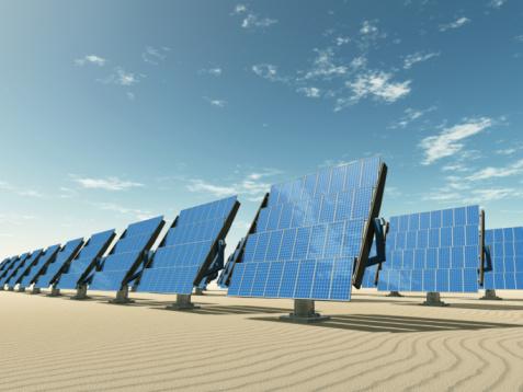 Heidelberg - Germany「Tracking solar panels in the desert」:スマホ壁紙(0)