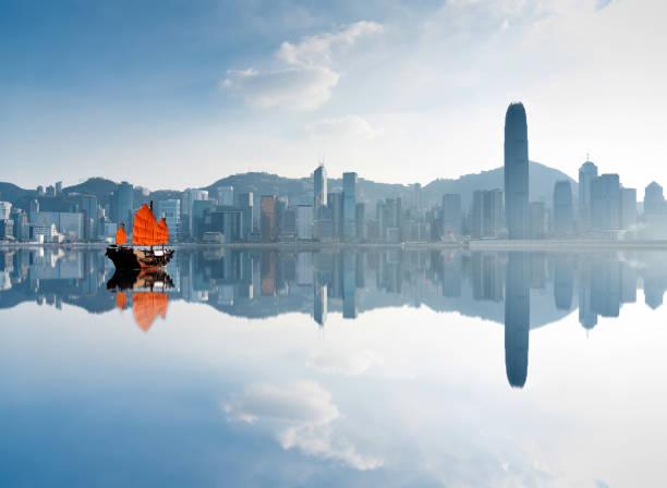 Junk boat crossing Hong Kong harbor:スマホ壁紙(壁紙.com)