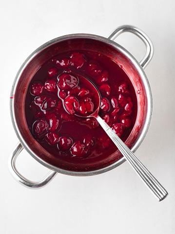 Dessert Topping「Cherry jam, Cherry Sauce, Sour cherries,Cherry jam with spoon」:スマホ壁紙(10)
